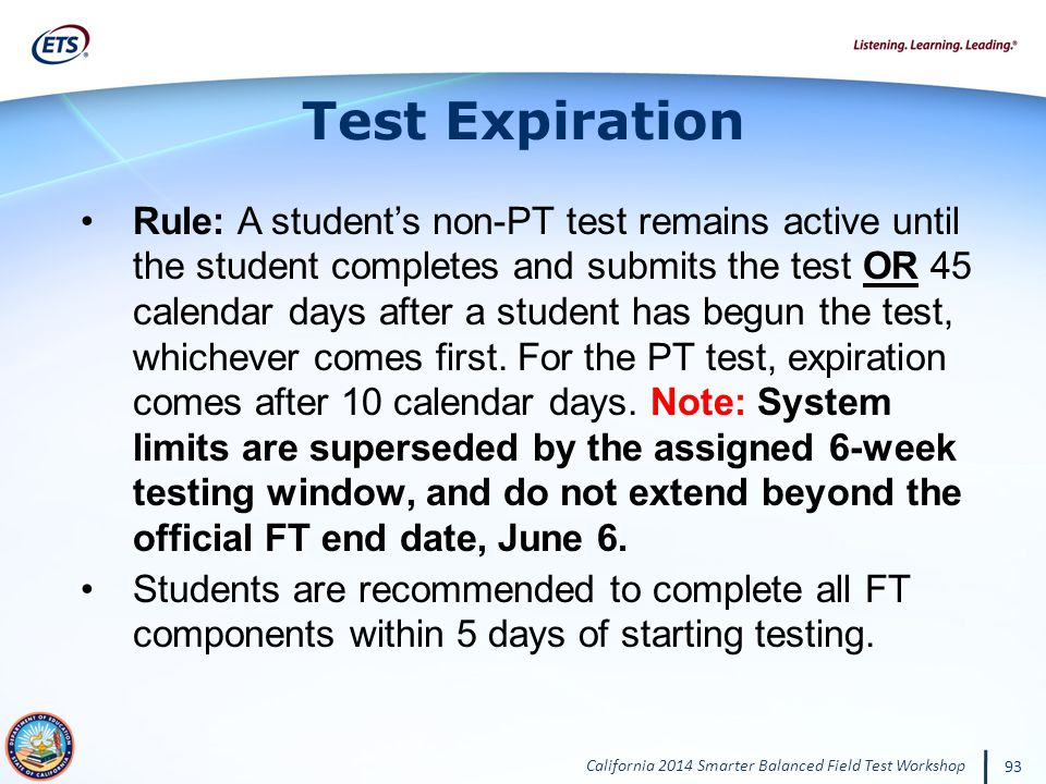 Test Expiration