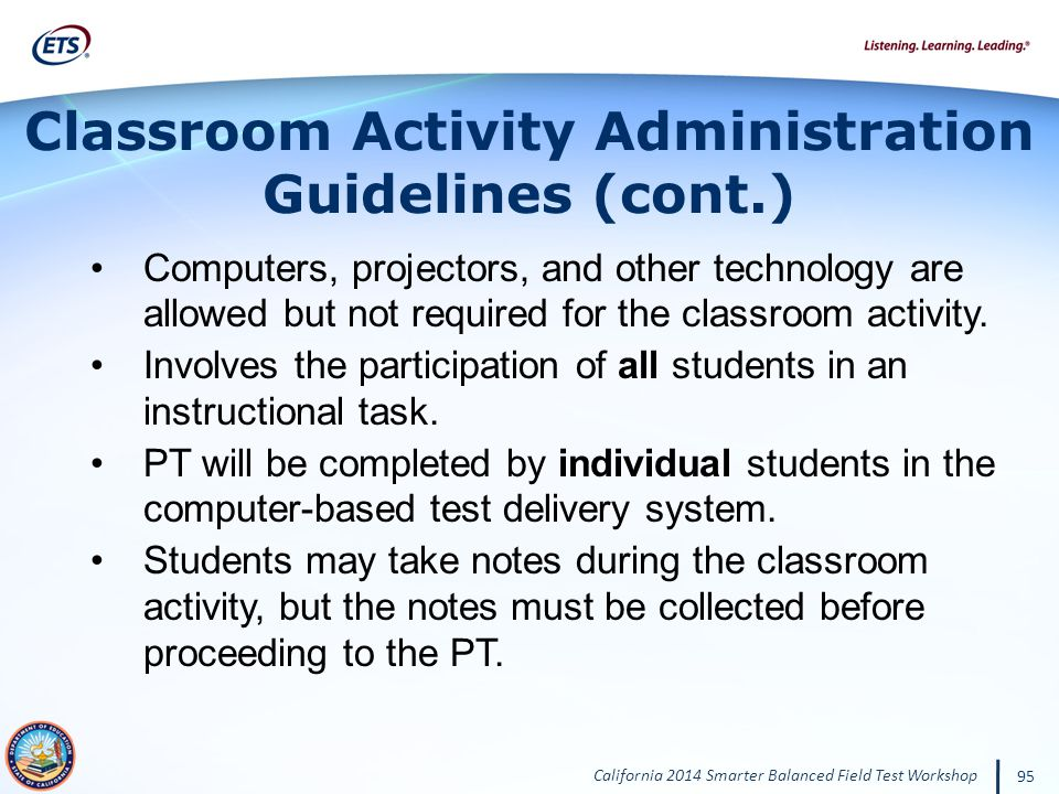 Classroom Activity Administration Guidelines (cont.)