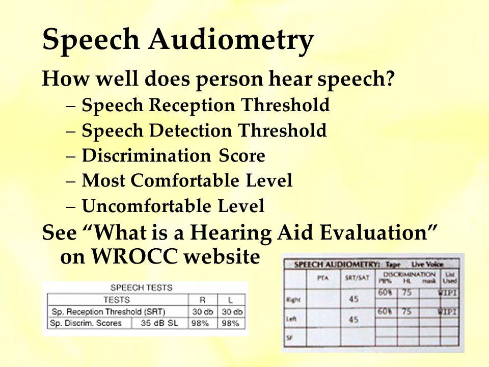 Speech Audiometry How well does person hear speech