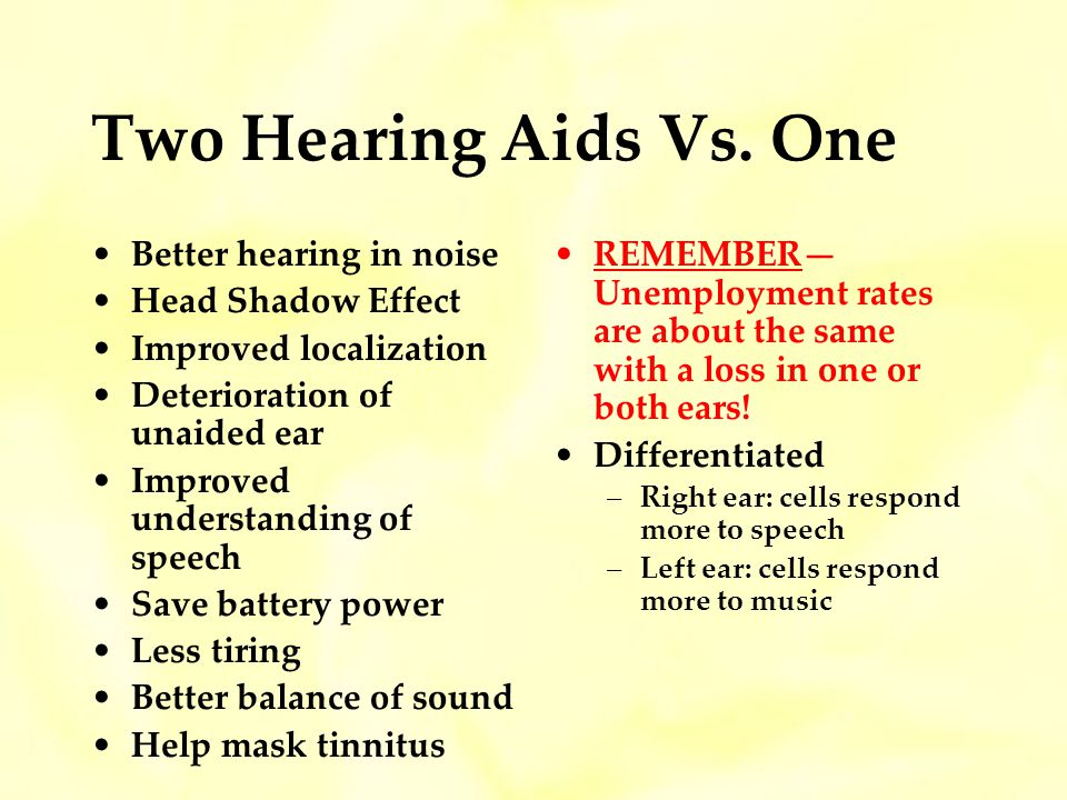 Two Hearing Aids Vs. One Better hearing in noise Head Shadow Effect