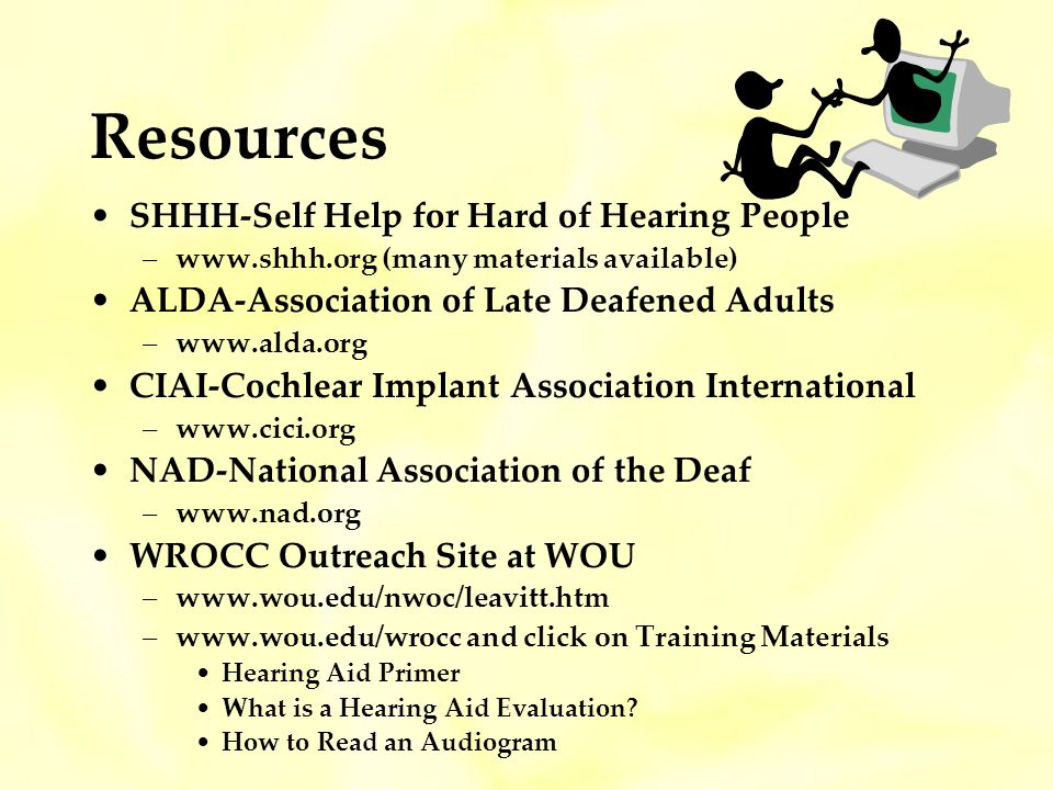 Resources SHHH-Self Help for Hard of Hearing People