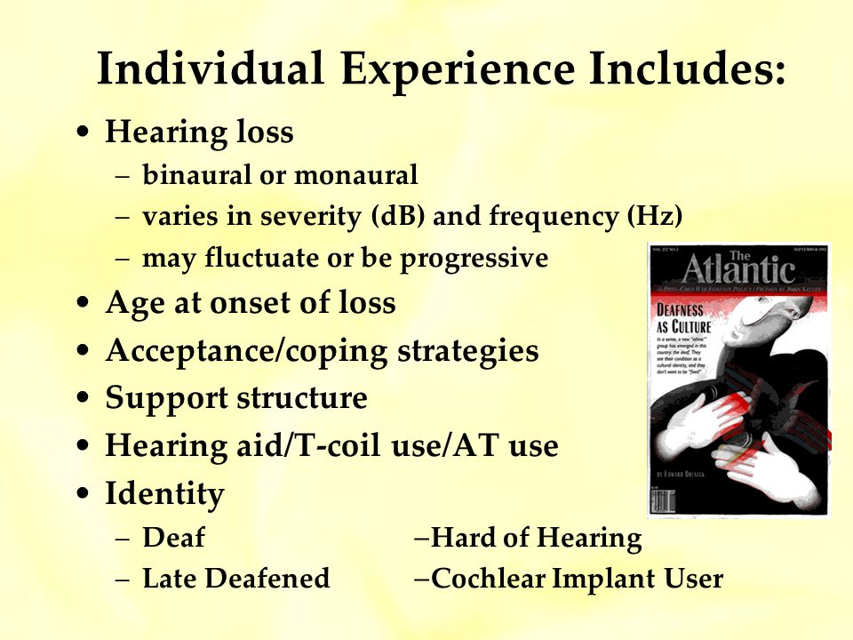 Individual Experience Includes: