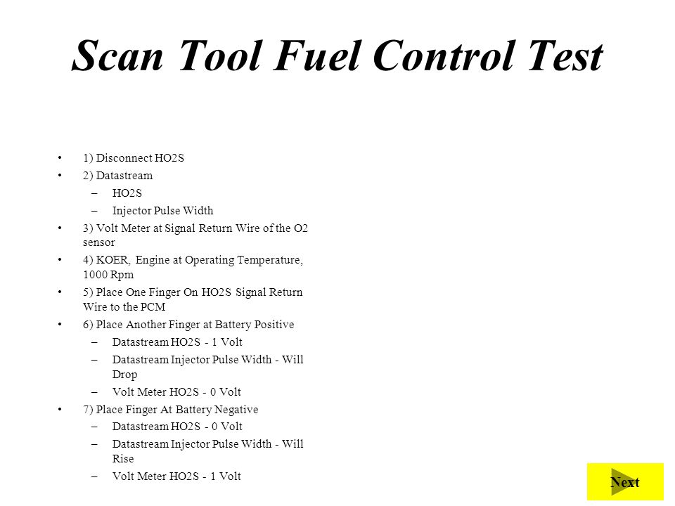 Scan Tool Fuel Control Test