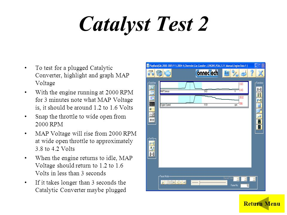 Catalyst Test 2 To test for a plugged Catalytic Converter, highlight and graph MAP Voltage.