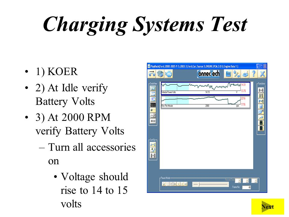 Charging Systems Test 1) KOER 2) At Idle verify Battery Volts