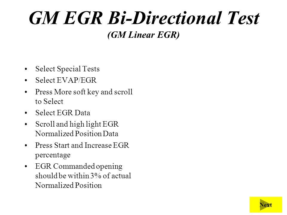 GM EGR Bi-Directional Test (GM Linear EGR)
