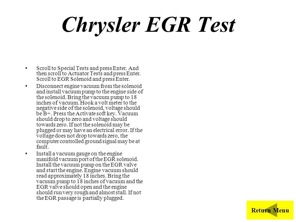 Chrysler EGR Test Return Menu