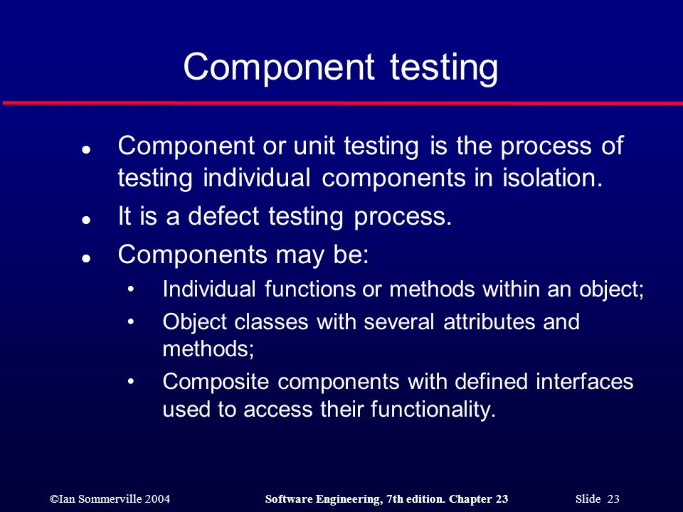 Component testing Component or unit testing is the process of testing individual components in isolation.