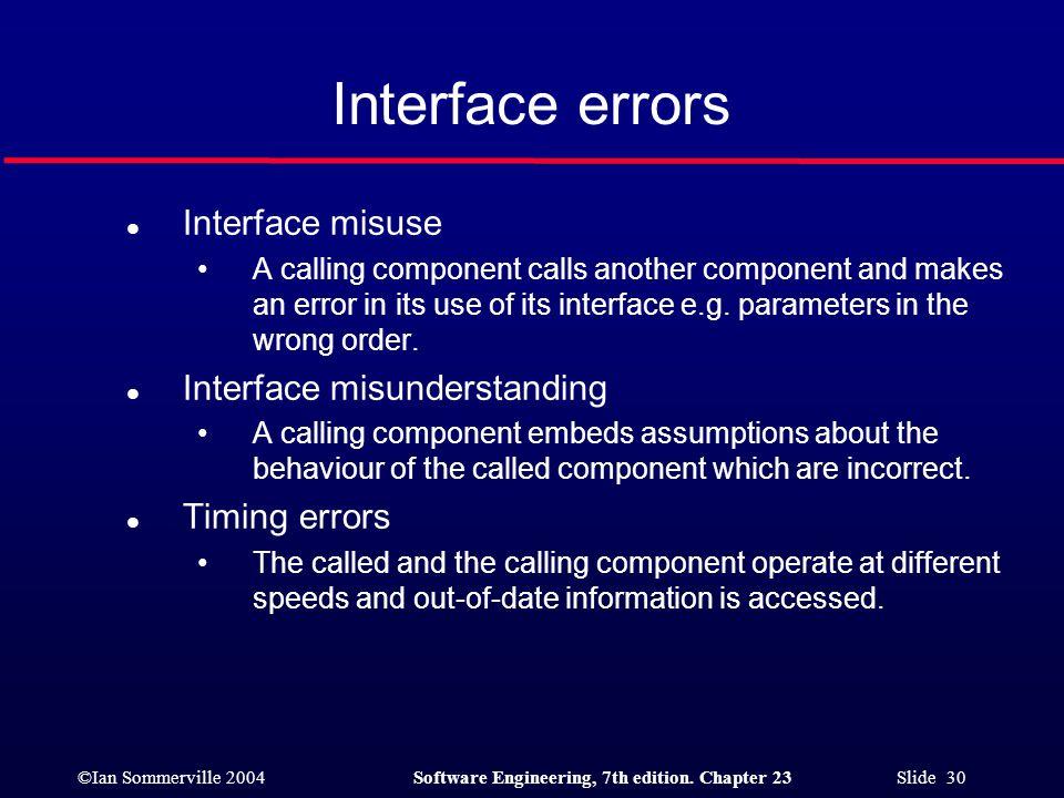 Interface errors Interface misuse Interface misunderstanding