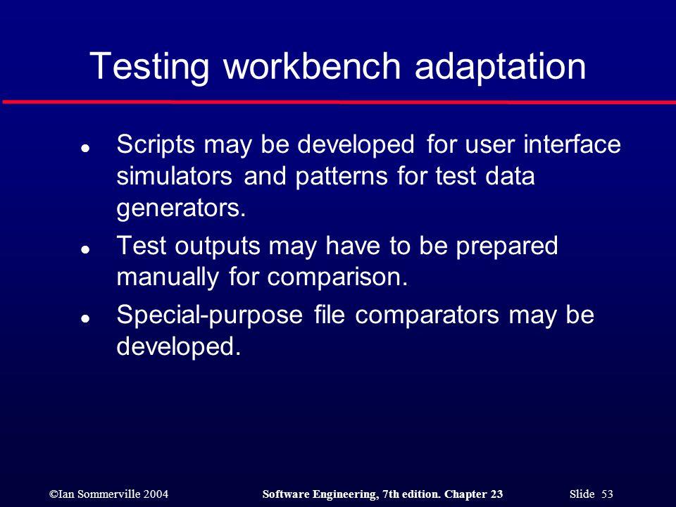 Testing workbench adaptation