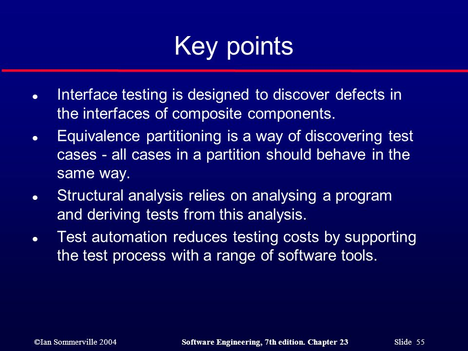 Key points Interface testing is designed to discover defects in the interfaces of composite components.