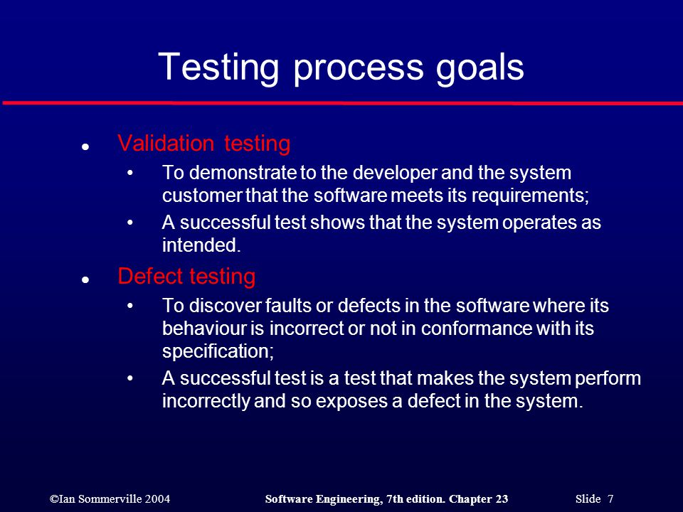 Testing process goals Validation testing Defect testing