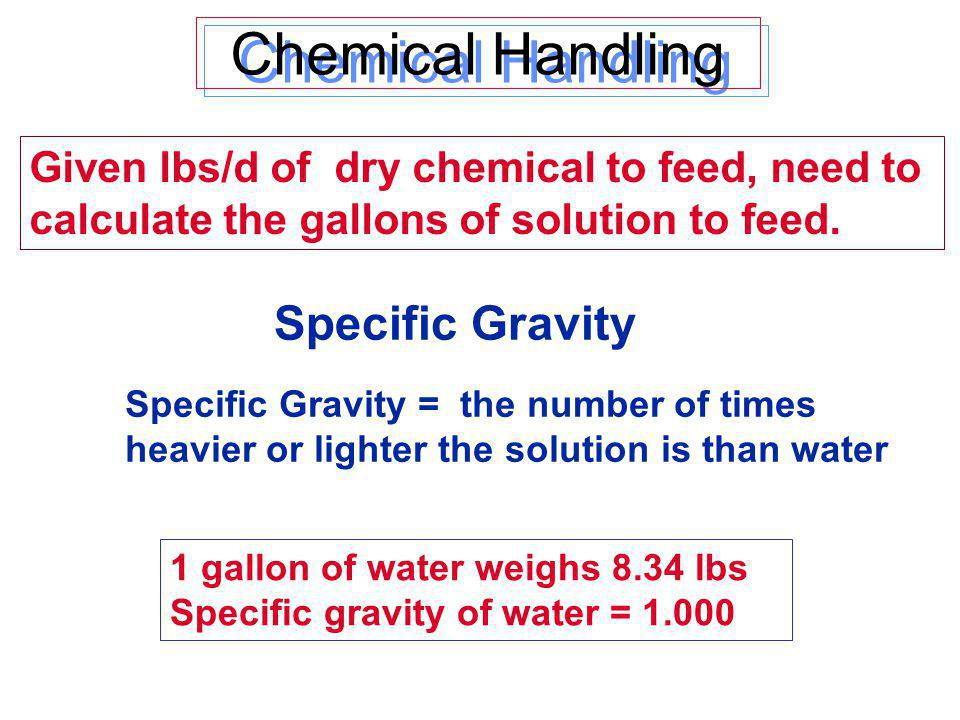 Chemical Handling Specific Gravity