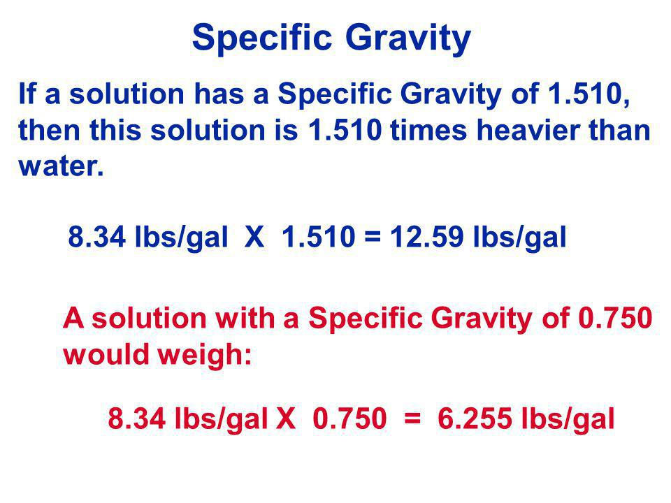 Specific Gravity If a solution has a Specific Gravity of 1.510,