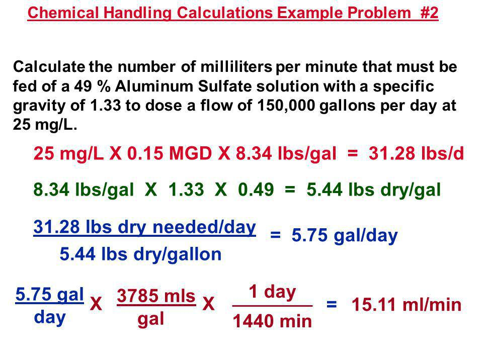 Chemical Handling Calculations Example Problem #2