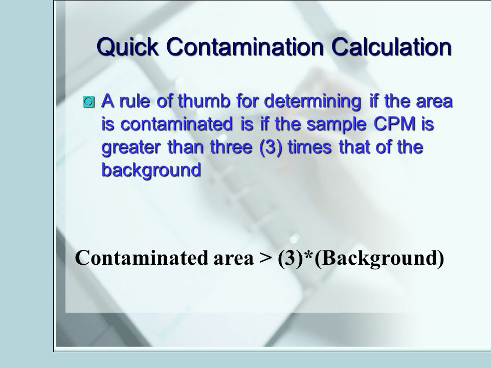 Quick Contamination Calculation