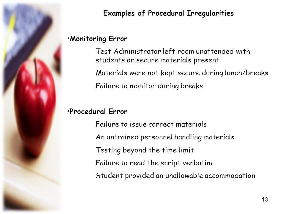 Examples of Procedural Irregularities