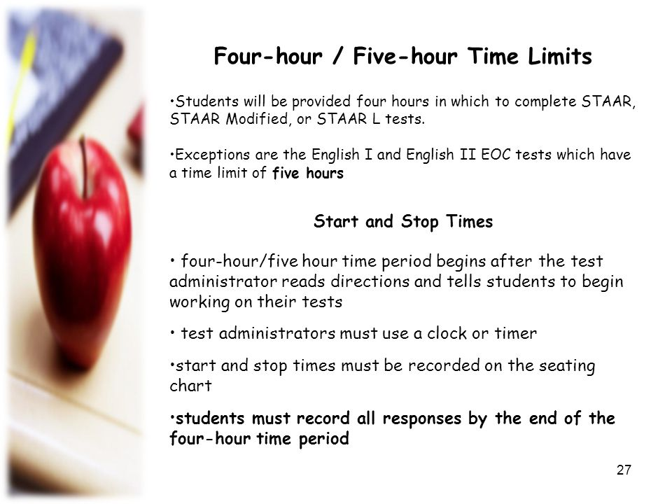 Four-hour / Five-hour Time Limits