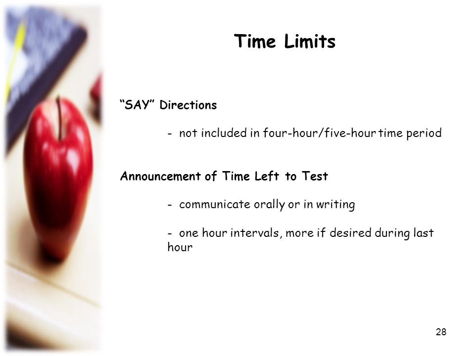 Time Limits SAY Directions