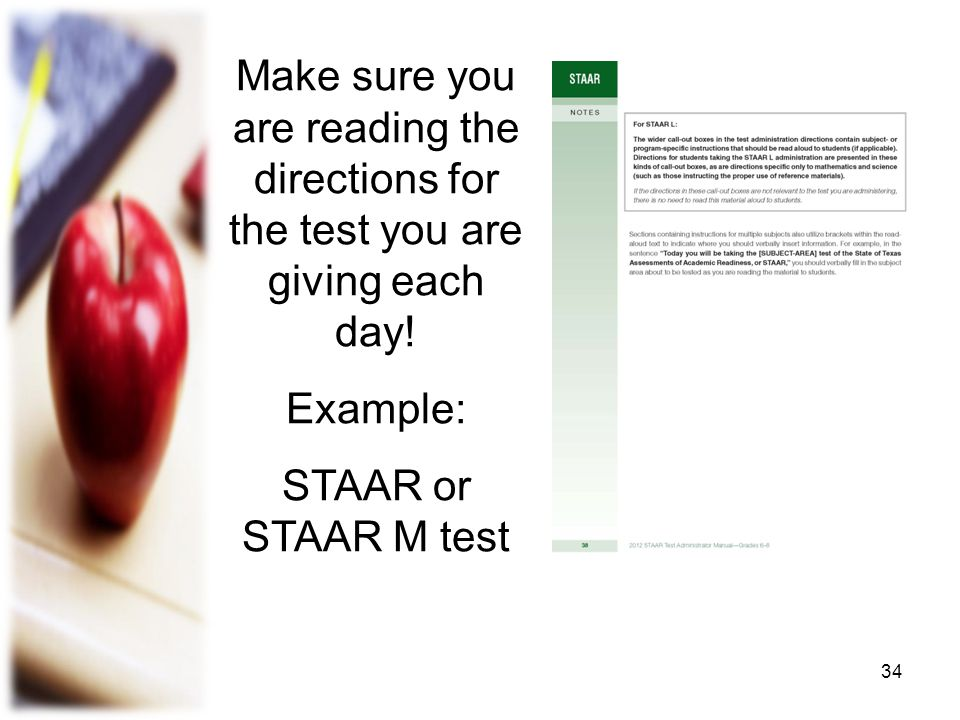 Make sure you are reading the directions for the test you are giving each day!