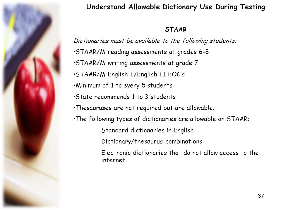 Understand Allowable Dictionary Use During Testing