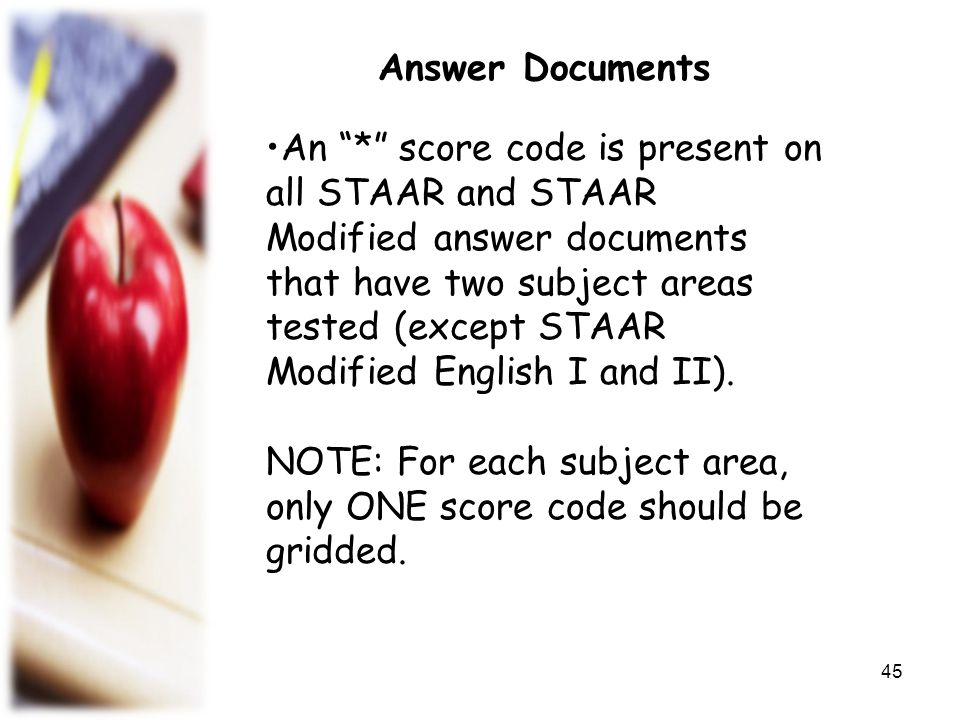 NOTE: For each subject area, only ONE score code should be gridded.