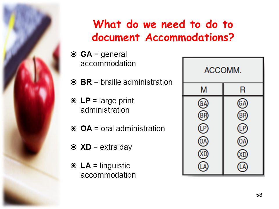 What do we need to do to document Accommodations