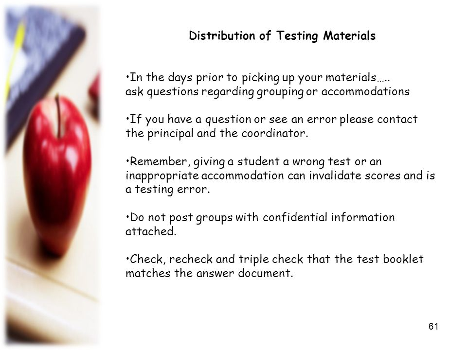 Distribution of Testing Materials