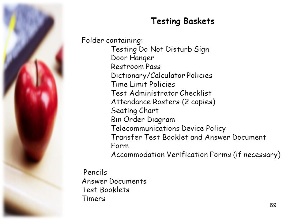 Testing Baskets Folder containing: Testing Do Not Disturb Sign