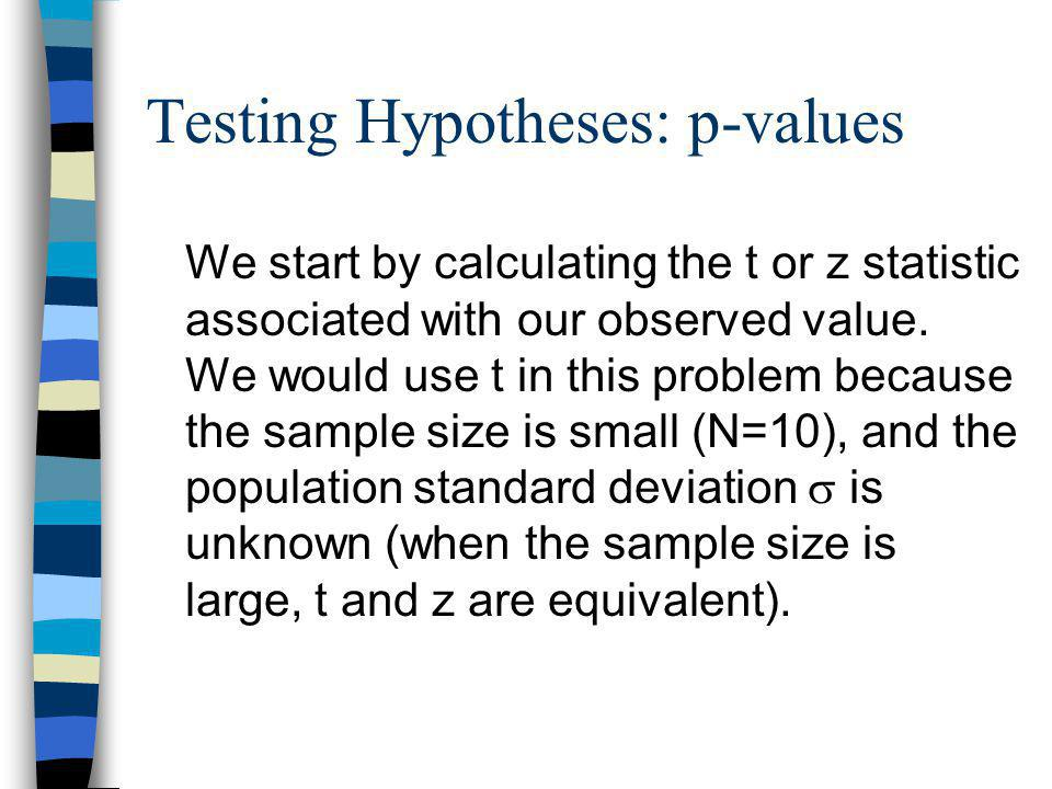 Testing Hypotheses: p-values