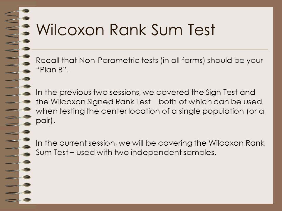 Wilcoxon Rank Sum Test