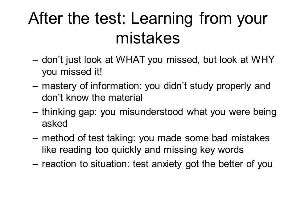 After the test: Learning from your mistakes