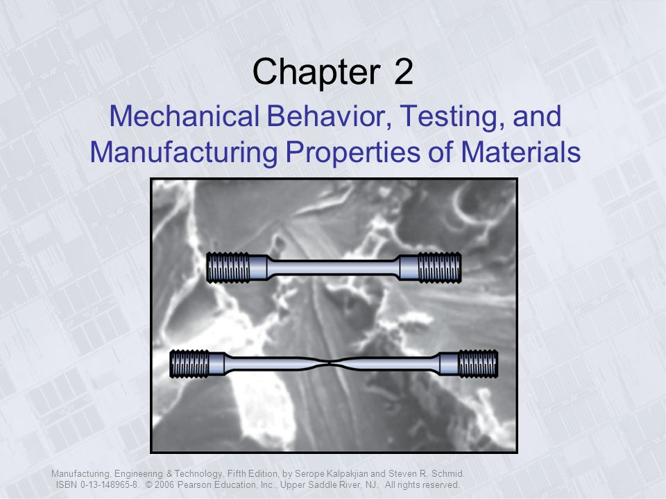 Chapter 2 Mechanical Behavior, Testing, and Manufacturing Properties of Materials.