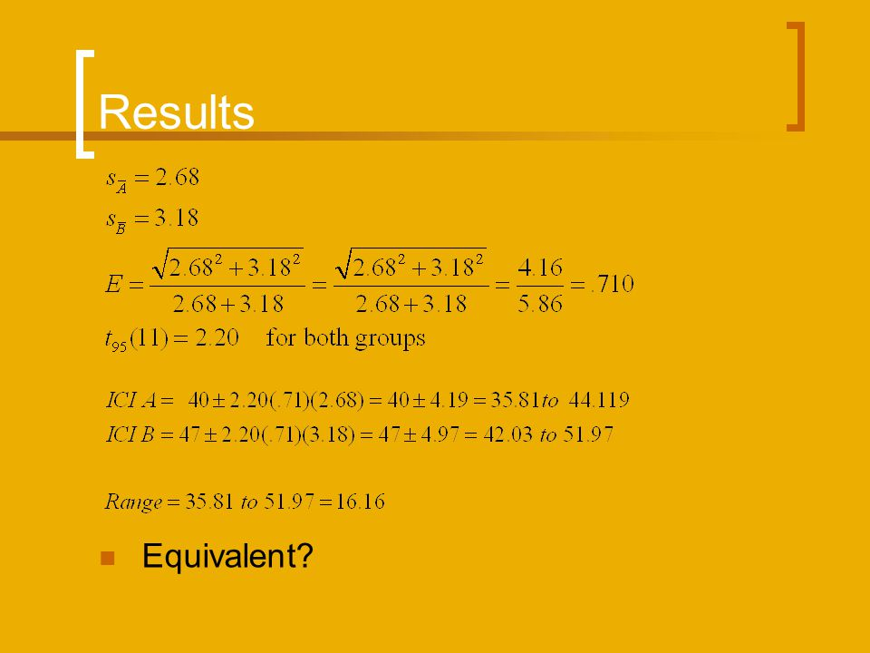 Results Equivalent