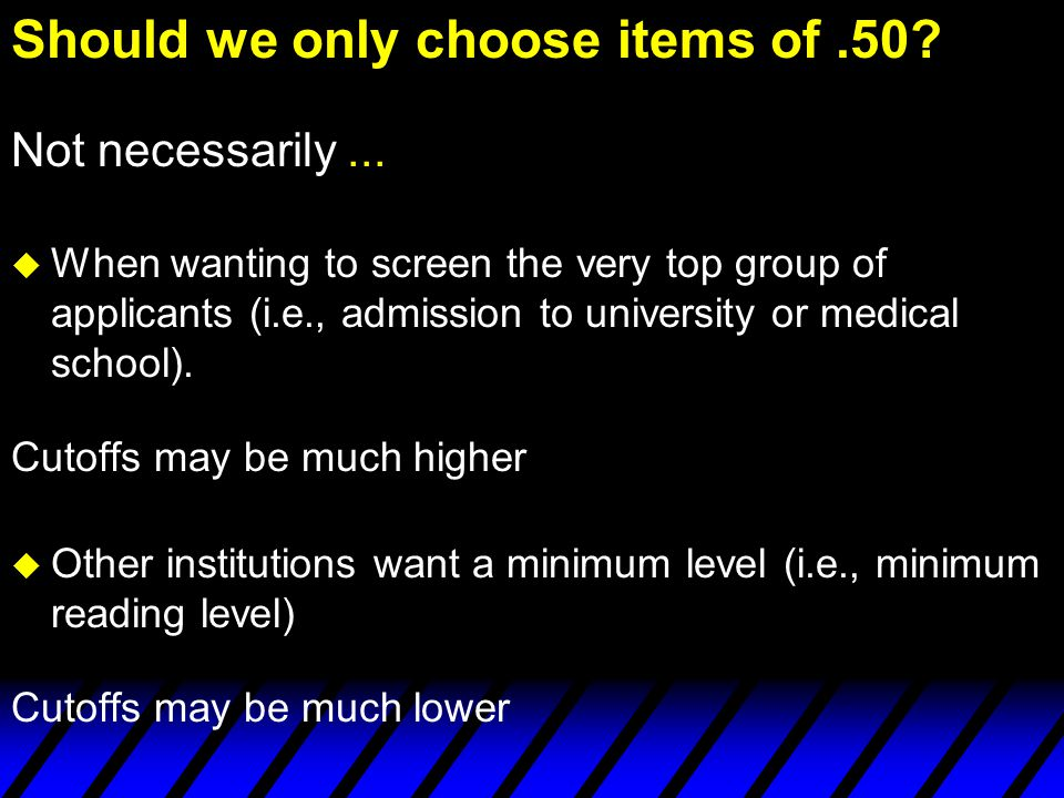 Should we only choose items of .50