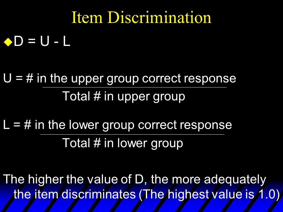 Item Discrimination D = U - L