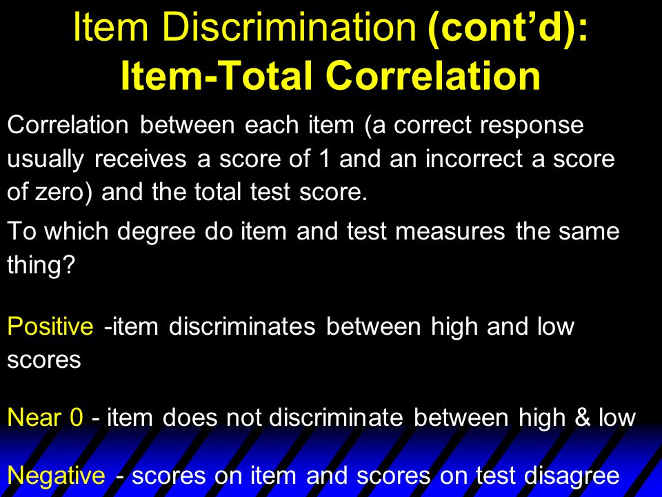 Item Discrimination (cont'd): Item-Total Correlation
