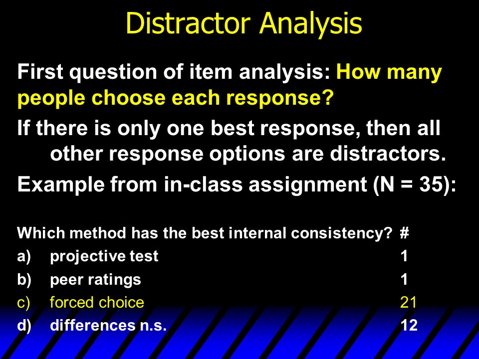 Distractor Analysis First question of item analysis: How many people choose each response