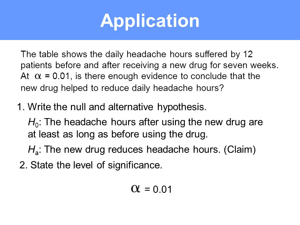 Application 1. Write the null and alternative hypothesis.