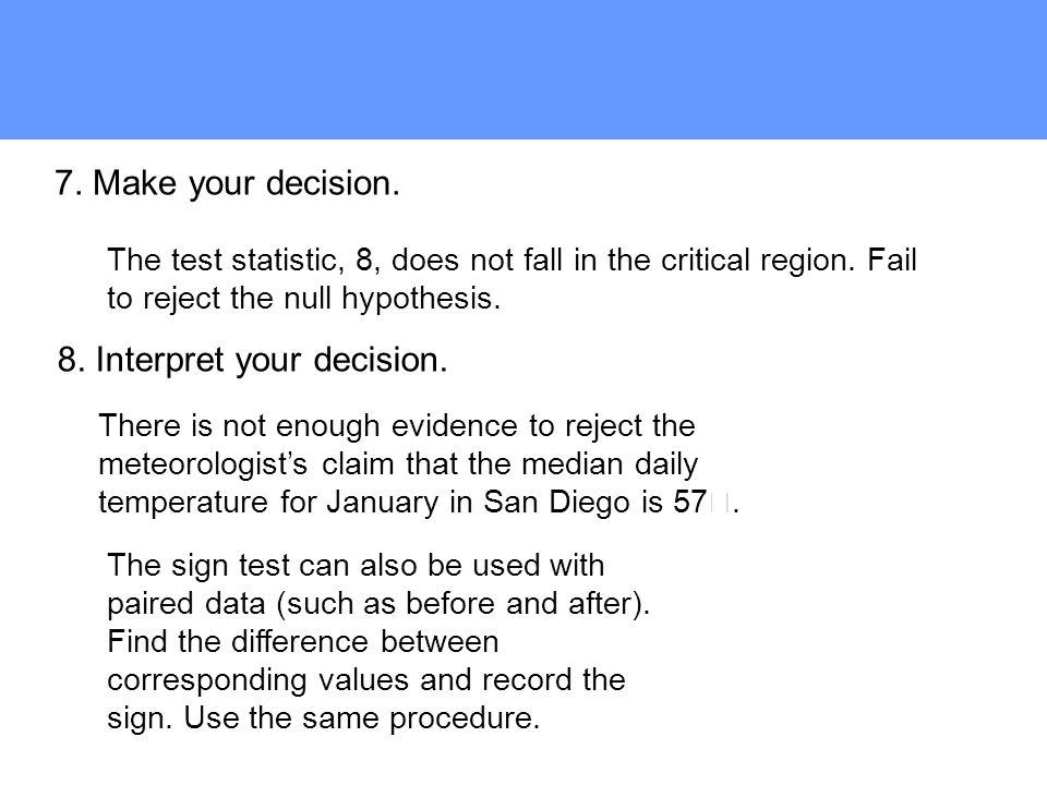 8. Interpret your decision.