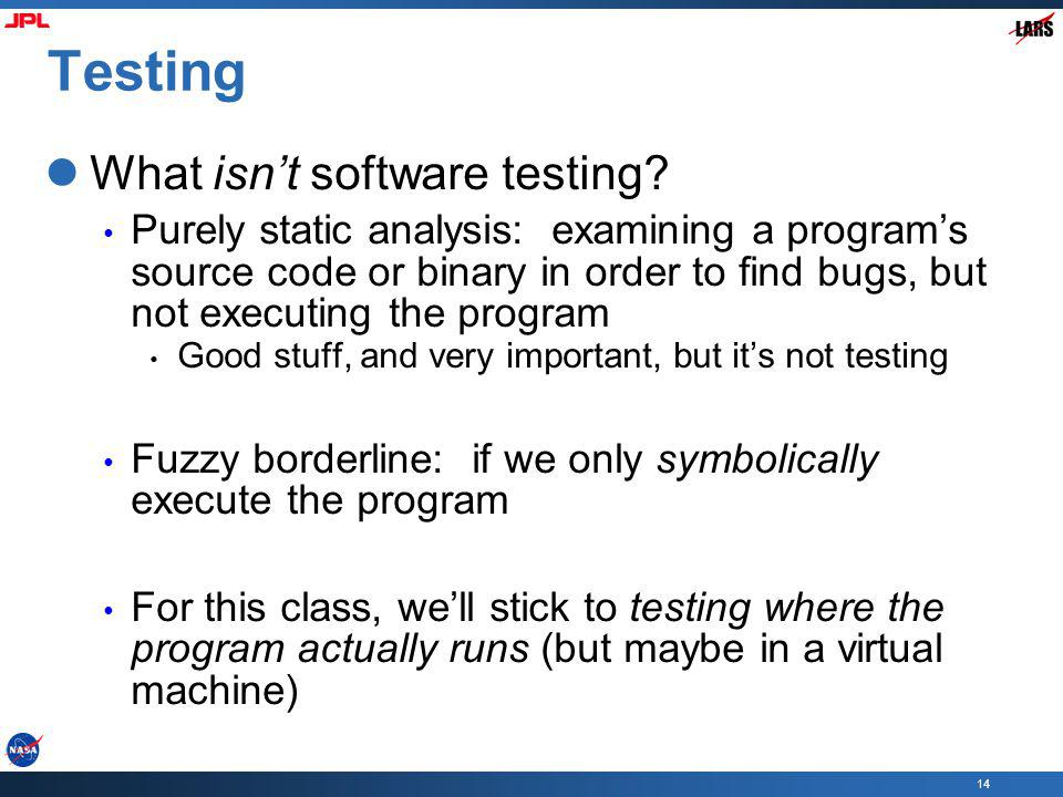 Testing What isn't software testing