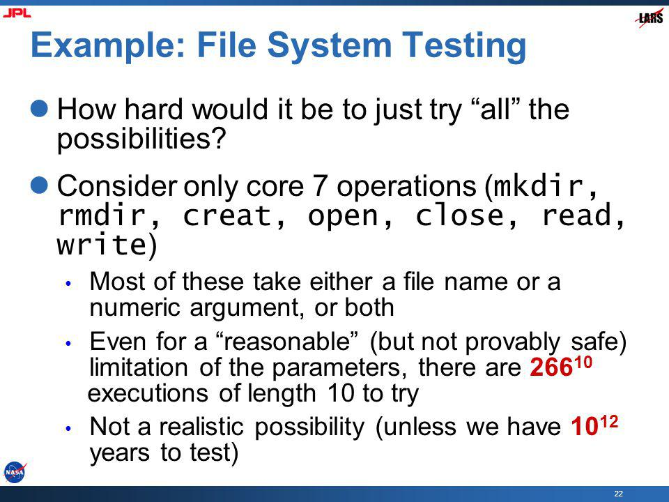 Example: File System Testing