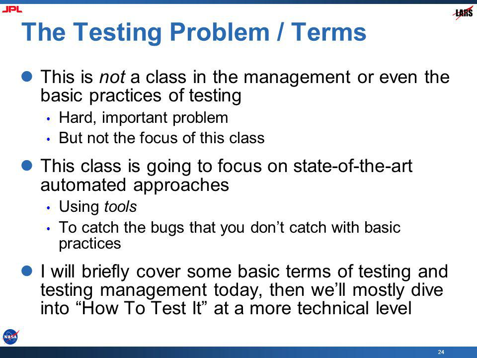 The Testing Problem / Terms