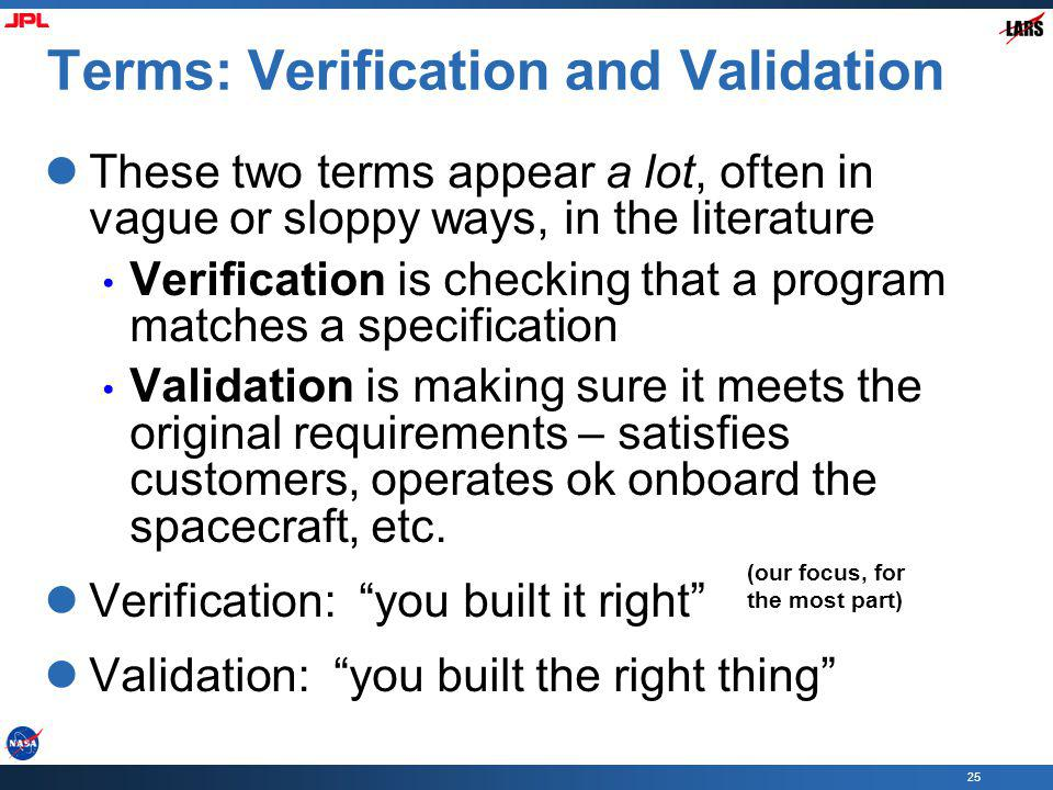 Terms: Verification and Validation