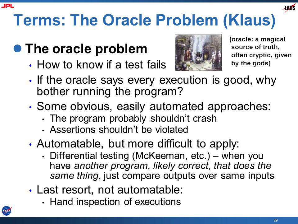 Terms: The Oracle Problem (Klaus)
