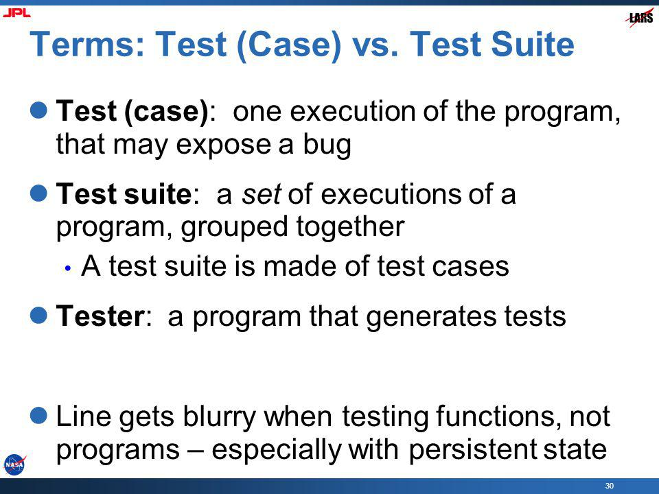 Terms: Test (Case) vs. Test Suite