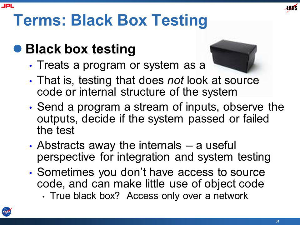 Terms: Black Box Testing