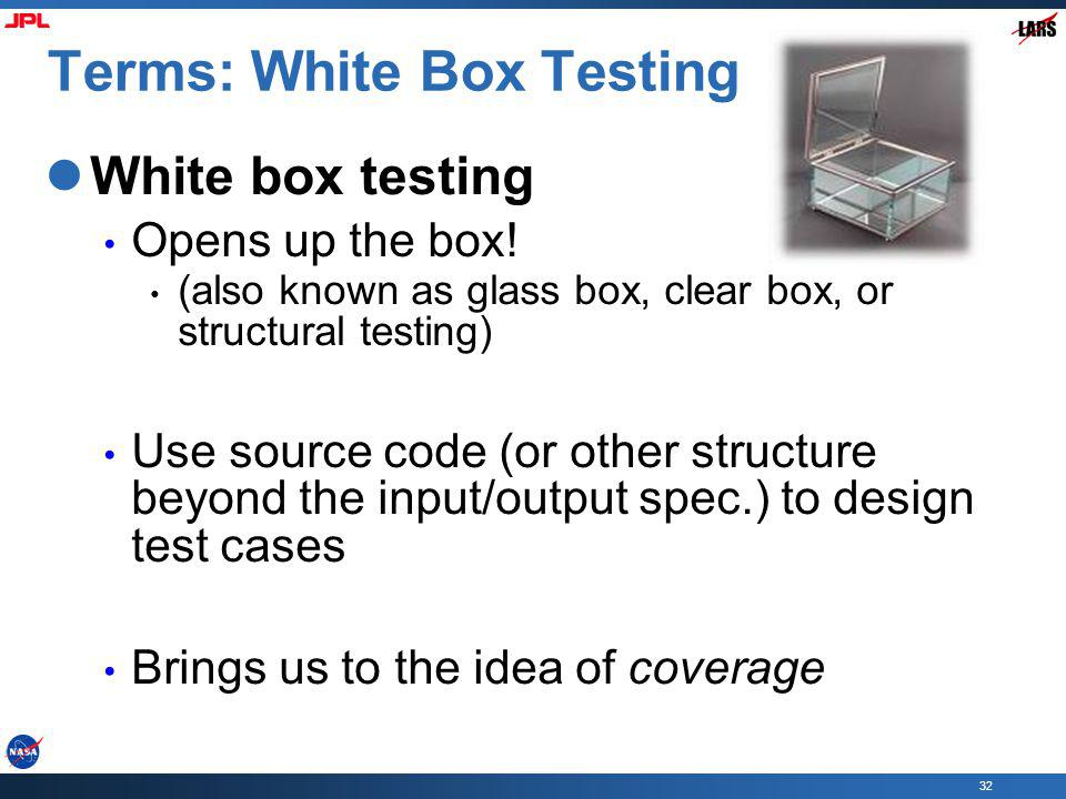 Terms: White Box Testing