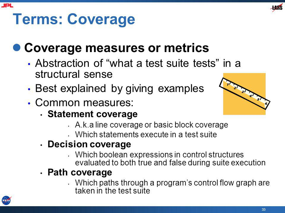 Terms: Coverage Coverage measures or metrics