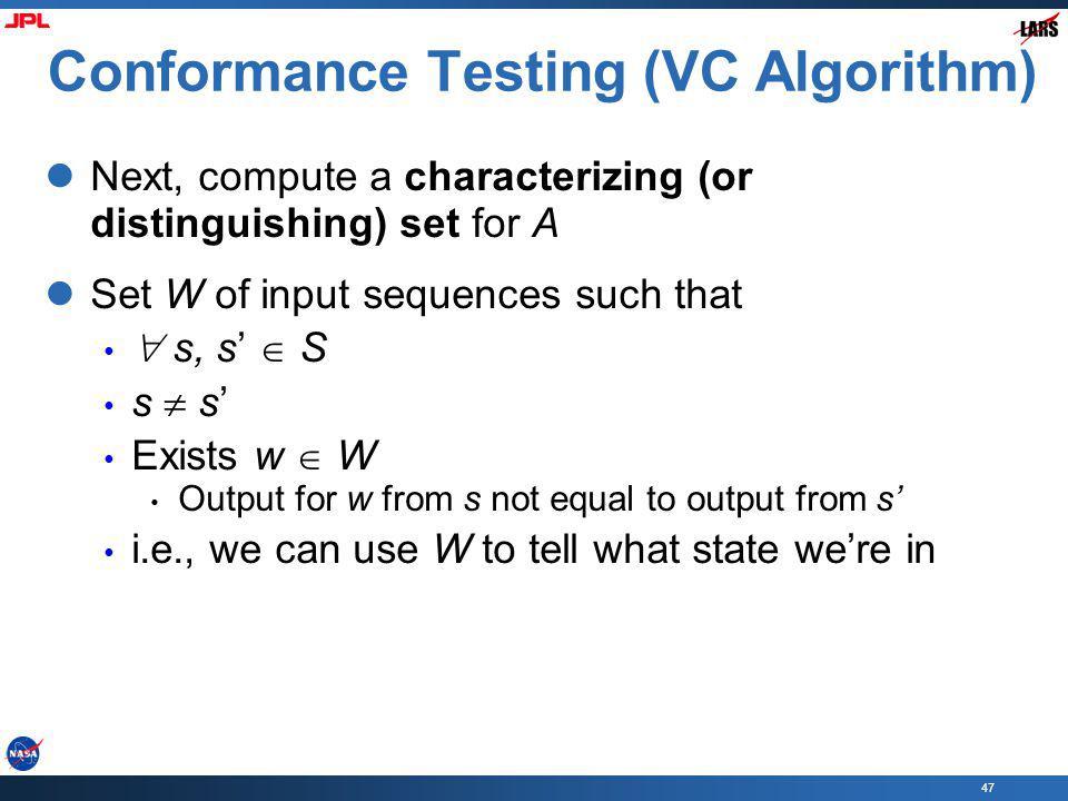 Conformance Testing (VC Algorithm)